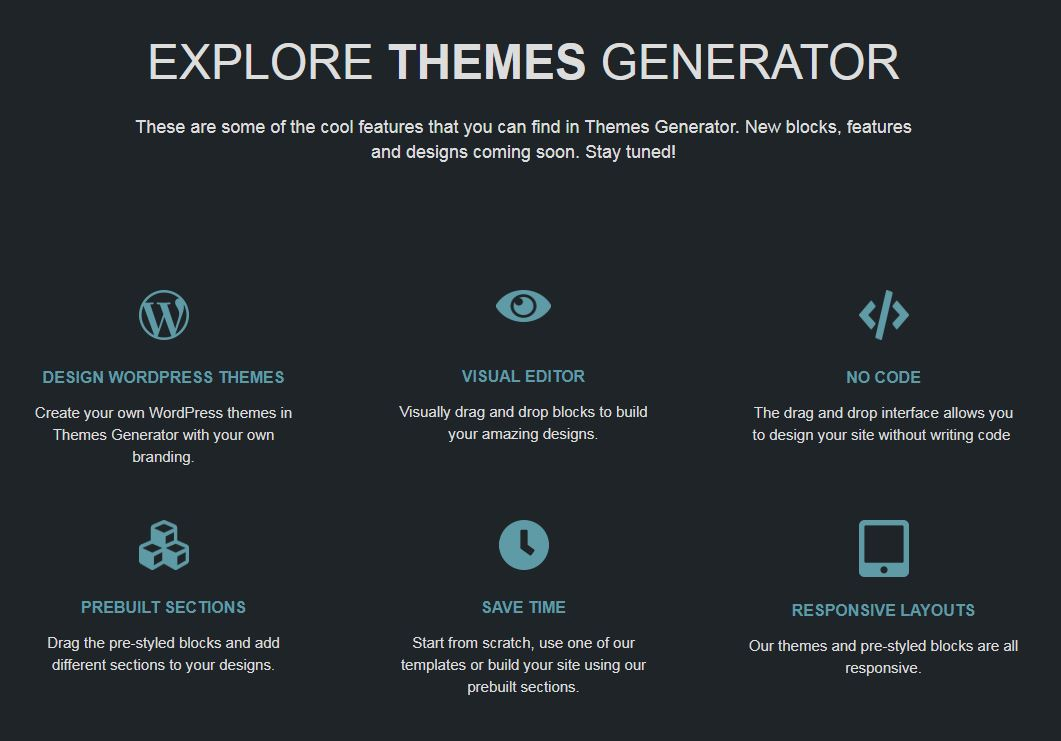 El nuevo editor visual de plantillas WordPress: ThemesGenerator