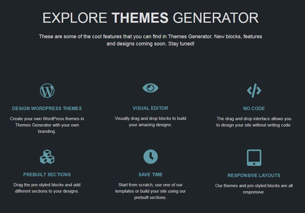 El nuevo editor visual de plantillas WordPress: ThemesGenerator